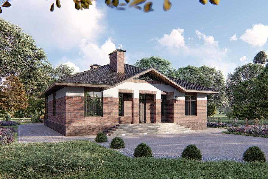 Одноэтажный дом D077